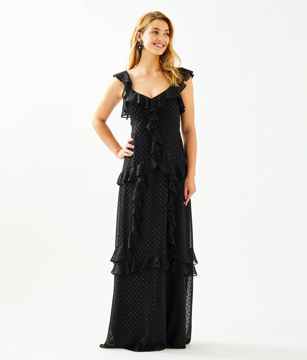 Riland Maxi Dress, Onyx Moroccan Metallic Clip, large