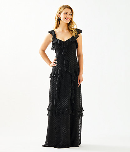 Riland Maxi Dress, Onyx Moroccan Metallic Clip, large 0