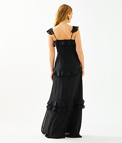 Riland Maxi Dress, Onyx Moroccan Metallic Clip, large 1