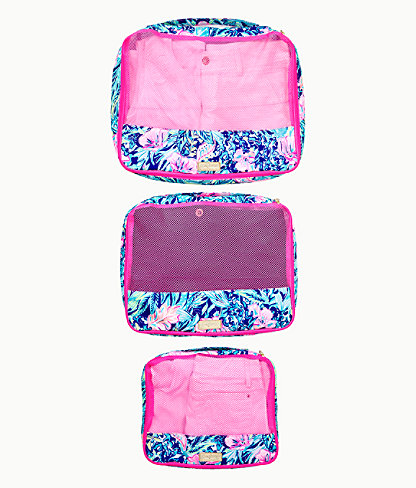 Sea Island Packing Cube Set, Lapis Lazuli Beach Club Blooms, large 1