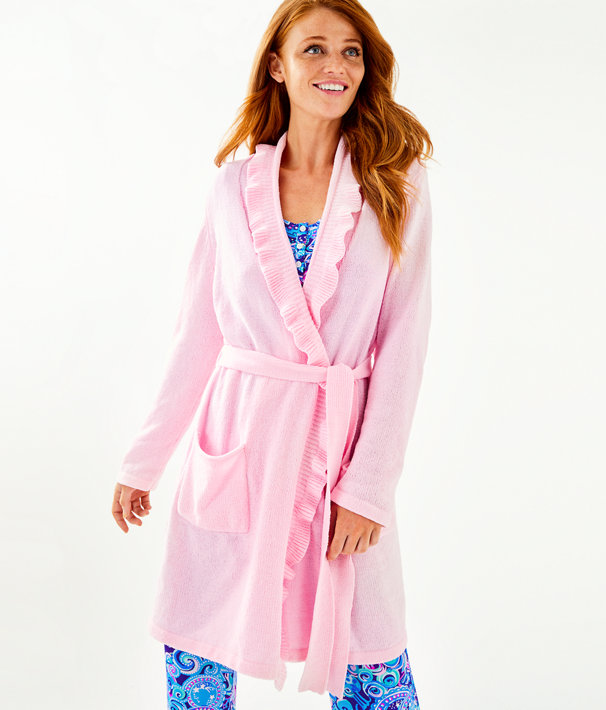 Melville Ruffle Robe, Pink Blossom, large