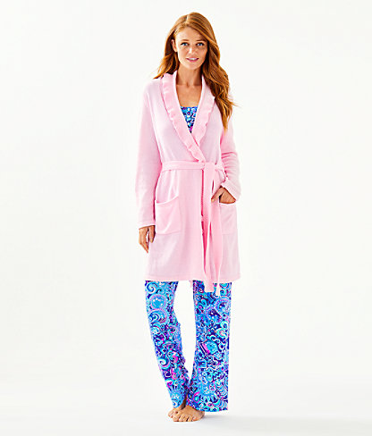 Melville Ruffle Robe, Pink Blossom, large 2