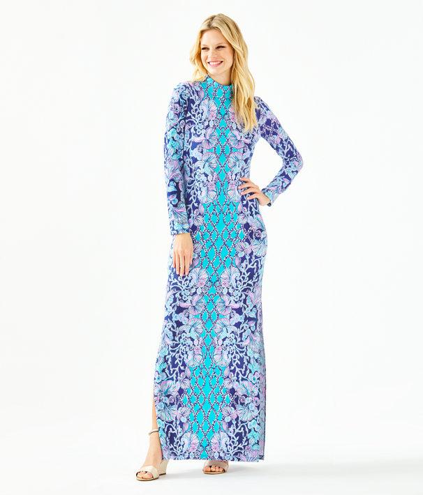 Nikia High Neck Maxi Dress, Lapis Lazuli Your Biggest Fan Engineered Maxi Dress, large