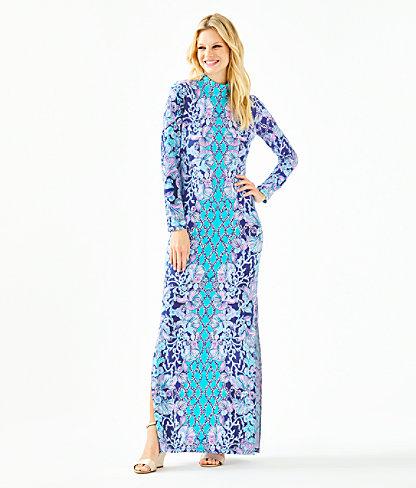 Nikia High Neck Maxi Dress, Lapis Lazuli Your Biggest Fan Engineered Maxi Dress, large 0