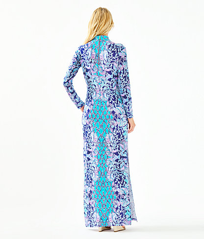 Nikia High Neck Maxi Dress, Lapis Lazuli Your Biggest Fan Engineered Maxi Dress, large 1