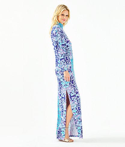 Nikia High Neck Maxi Dress, Lapis Lazuli Your Biggest Fan Engineered Maxi Dress, large 2