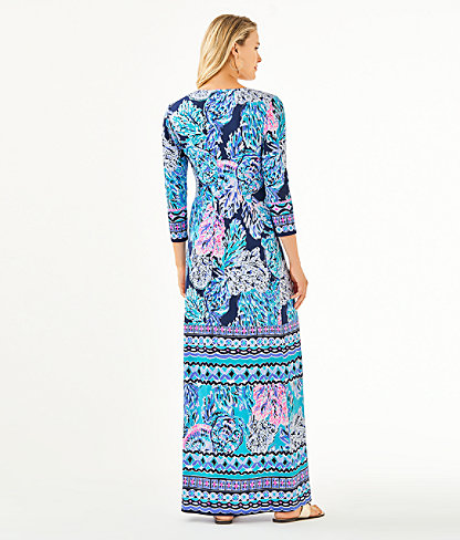 Melli Maxi Dress, High Tide Navy Party In Paradise Engineered Maxi Dress, large 1
