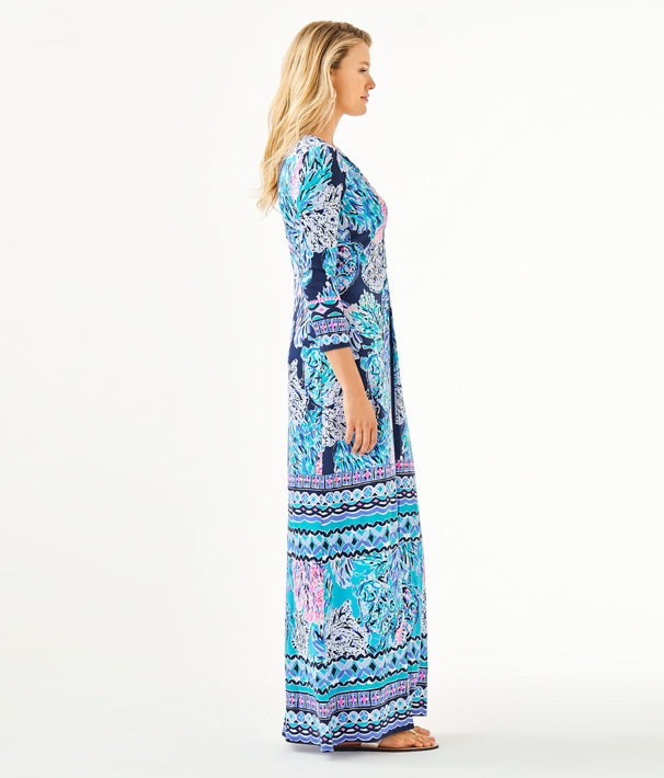Melli Maxi Dress, High Tide Navy Party In Paradise Engineered Maxi Dress, large