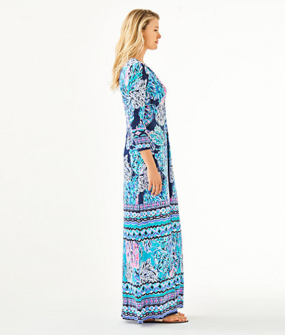 Melli Maxi Dress, High Tide Navy Party In Paradise Engineered Maxi Dress, large 2