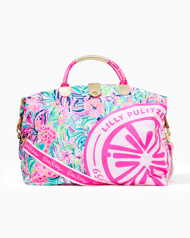Lily inspired pink blue pattern overnight weekender tote