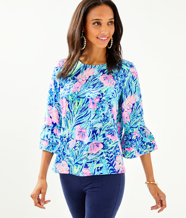 Christie Top, Lapis Lazuli Beach Club Blooms, large
