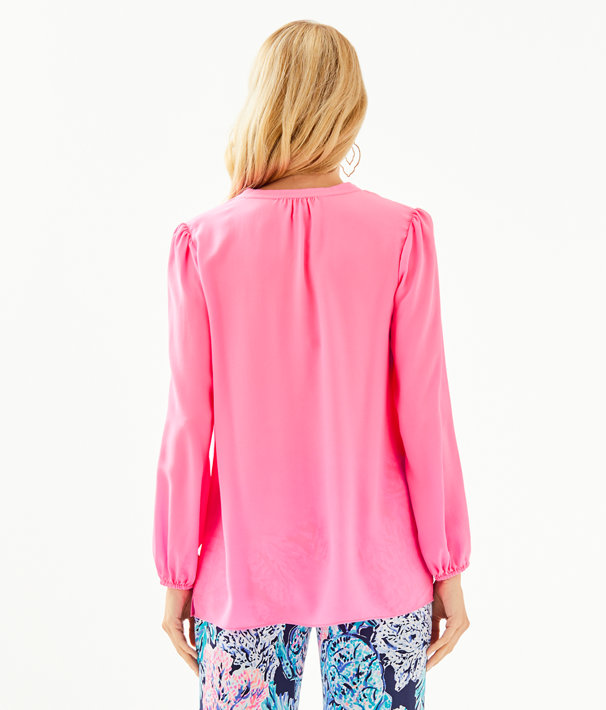 Lana Ray Silk Top, Prosecco Pink, large