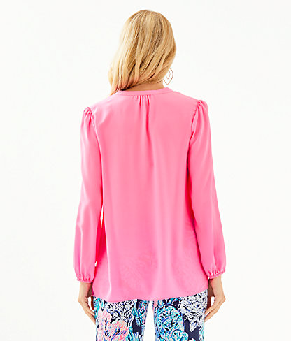 Lana Ray Silk Top, Prosecco Pink, large 1