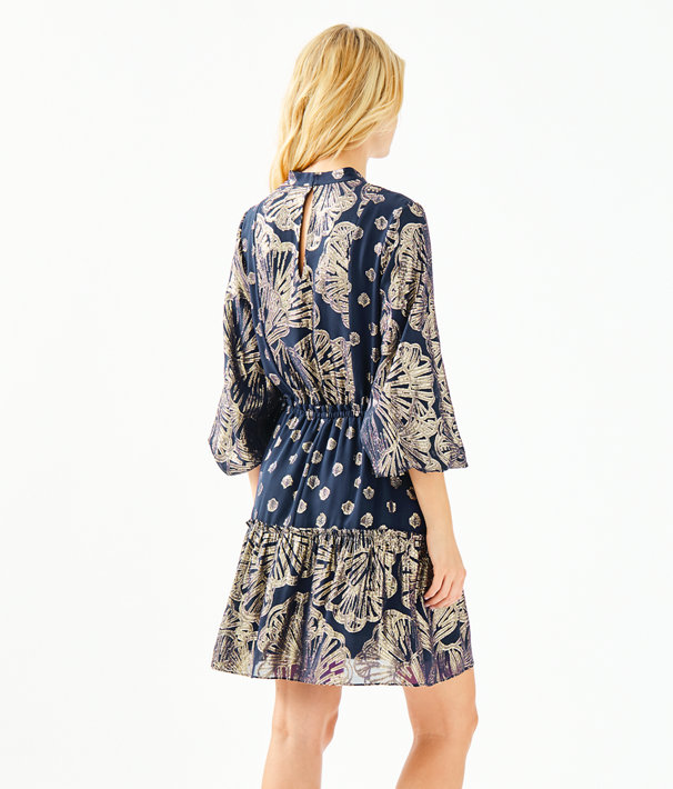 Joella Silk Dress, True Navy Seagrass Metallic Clip Chiffon, large