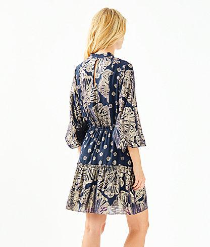 Joella Silk Dress, True Navy Seagrass Metallic Clip Chiffon, large 1