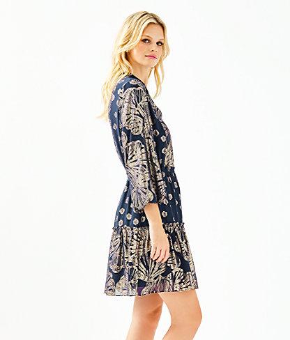Joella Silk Dress, True Navy Seagrass Metallic Clip Chiffon, large 2