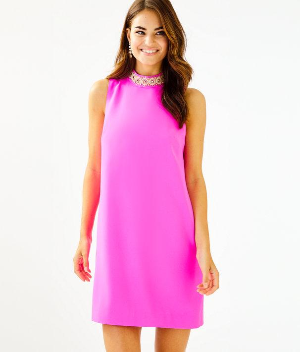 Brandi Beaded Stretch Shift Dress, Mandevilla Pink, large