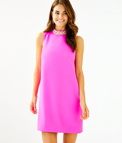 Brandi Beaded Stretch Shift Dress, Mandevilla Pink, large 0