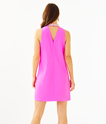 Brandi Beaded Stretch Shift Dress, Mandevilla Pink, large 1