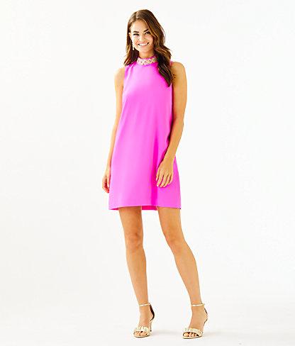 Brandi Beaded Stretch Shift Dress, Mandevilla Pink, large 4