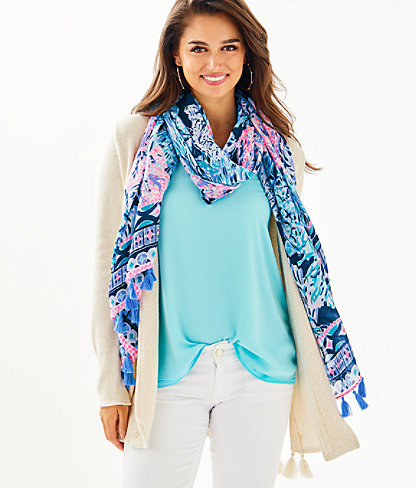 Resort Scarf, High Tide Navy Party In Paradise Engineered Scarf, large 0