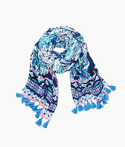 Resort Scarf, High Tide Navy Party In Paradise Engineered Scarf, large 1