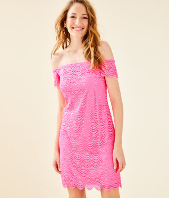 Jade Off-The-Shoulder Dress, Pink Tropics Scalloped Shell Lace, large