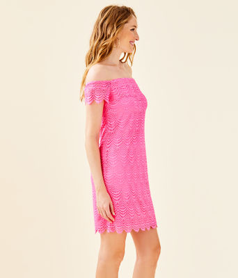 Jade Off-The-Shoulder Dress, Pink Tropics Scalloped Shell Lace, large 2