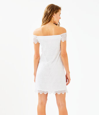 Jade Off-The-Shoulder Dress, Resort White Scalloped Shell Lace, large