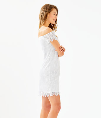 Jade Off-The-Shoulder Dress, Resort White Scalloped Shell Lace, large 2