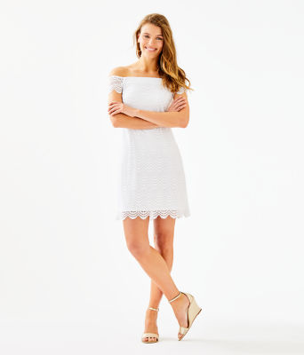 Jade Off-The-Shoulder Dress, Resort White Scalloped Shell Lace, large 3