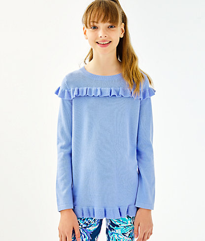 Girls Serah Ruffle Sweater, Periwinkle Purple, large 0