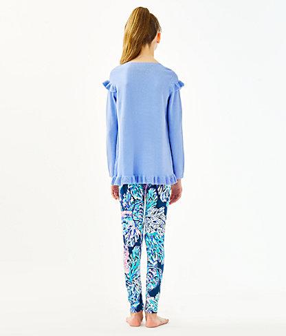 Girls Serah Ruffle Sweater, Periwinkle Purple, large 1
