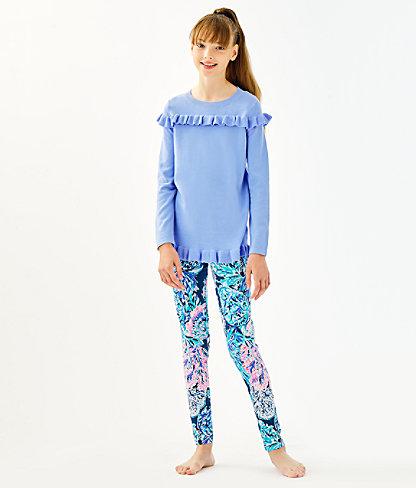 Girls Serah Ruffle Sweater, Periwinkle Purple, large 2