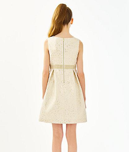 Girls Abrianna Dress, Gold Metallic Lagoon Jacquard, large 2