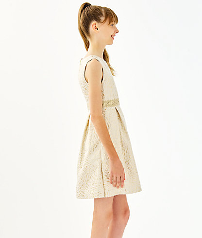 Girls Abrianna Dress, Gold Metallic Lagoon Jacquard, large 3