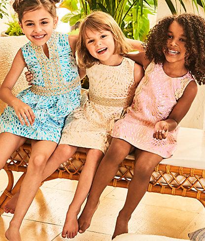 Girls Abrianna Dress, Gold Metallic Lagoon Jacquard, large 5
