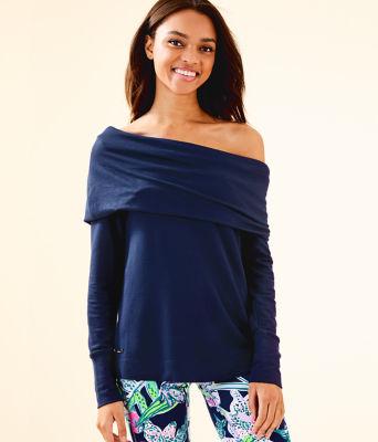 Belinda One-Shoulder Pullover, True Navy, large
