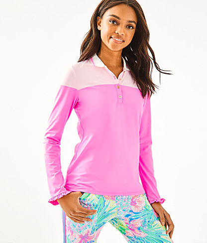 UPF 50+ Luxletic Alister Polo Top, Prosecco Pink Meryl Nylon Two Color, large 0
