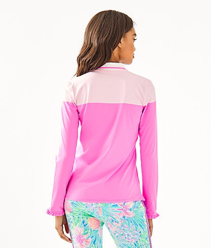 UPF 50+ Luxletic Alister Polo Top, Prosecco Pink Meryl Nylon Two Color, large 1