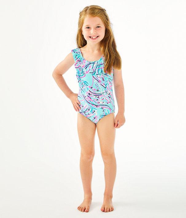 UPF 50+ Girls Ariana One-Piece Swimsuit, Bayside Blue Under The Moon, large