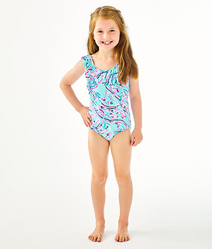 UPF 50+ Girls Ariana One-Piece Swimsuit, Bayside Blue Under The Moon, large 1