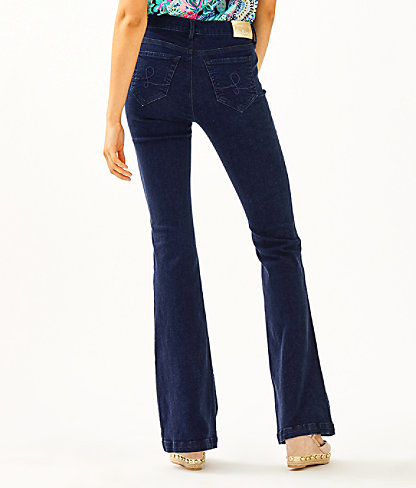 "35.5"" South Ocean High Rise Flare Jean, Cosmic Wash, large 1"