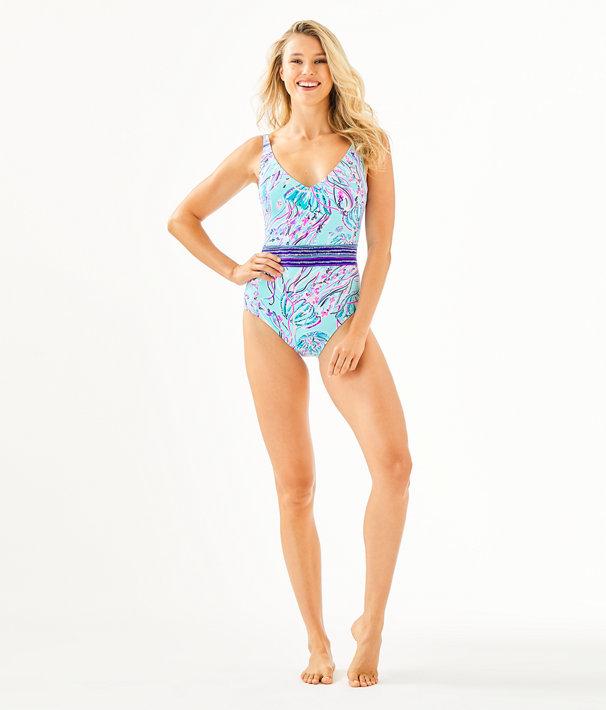 Riya One-Piece Swimsuit, Bayside Blue Under The Moon Engineered One Piece Swim, large