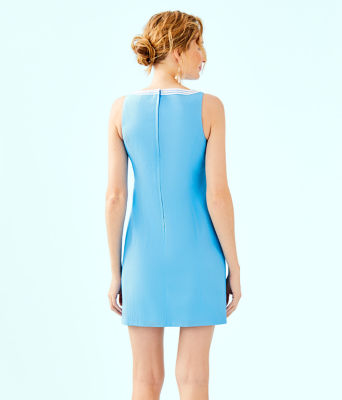 Gabby Stretch Shift Dress, Bondi Blue, large 1