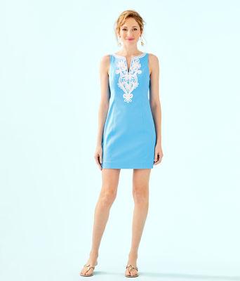 Gabby Stretch Shift Dress, Bondi Blue, large 3