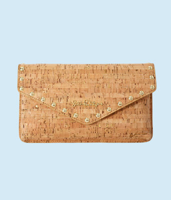 St. Barts Studded Cork Clutch, Natural, large