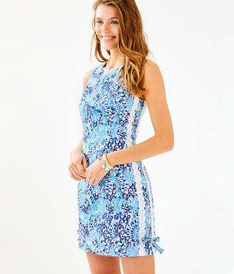 Mila Stretch Shift Dress, Light Aqua Spritz, large