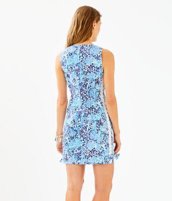 Mila Stretch Shift Dress, Light Aqua Spritz, large 1
