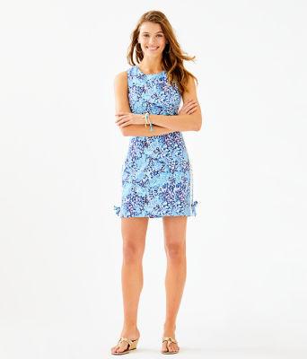 Mila Stretch Shift Dress, Light Aqua Spritz, large 3